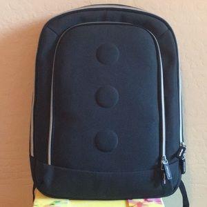 Dark navy blue backpack and laptop holder